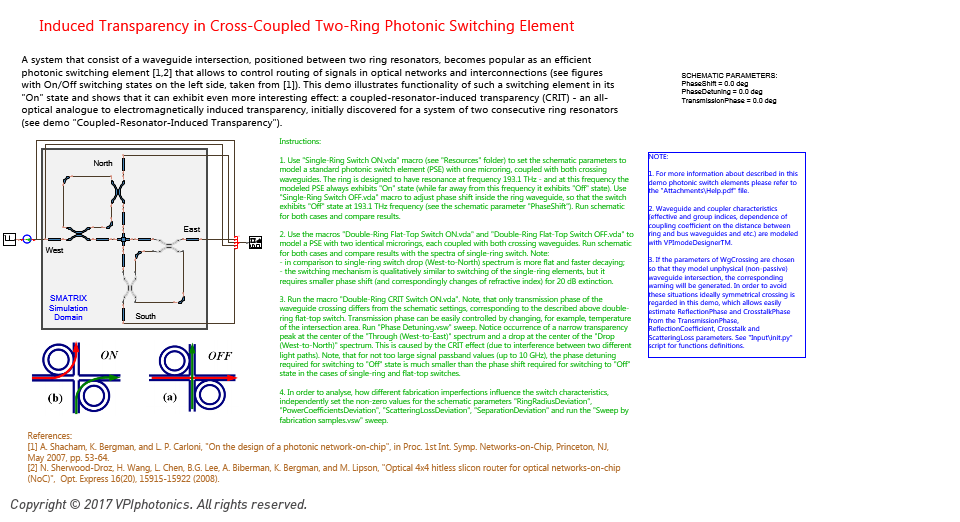 Picture for Induced Transparency in Cross-Coupled Two-Ring Photonic Switching Element
